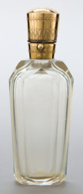 Silver Smalls:Other , A DUTCH ROCK CRYSTAL AND 10K GOLD PERFUME BOTTLE. Maker unknown,Netherlands, circa 1865. Marks: (oak leaf). 4 inches high (...