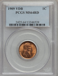 (5)1909 VDB 1C MS64 Red PCGS. PCGS Population (4686/6689). NGC Census: (2542/4537). Mintage: 27,995,000. (#2425) From Th...