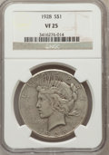 Peace Dollars: , 1928 $1 VF25 NGC. NGC Census: (15/5330). PCGS Population (7/7545).Mintage: 360,649. Numismedia Wsl. Price for problem free...