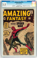 Silver Age (1956-1969):Superhero, Amazing Fantasy #15 (Marvel, 1962) CGC VG- 3.5 Cream to off-white pages....