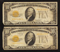 Small Size:Gold Certificates, Fr. 2400 $10 1928 Gold Certificates. Two Examples. Fine.. ... (Total: 2 notes)