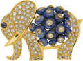 Estate Jewelry:Brooches - Pins, Diamond, Sapphire, Gold Brooch, Giovane. ...