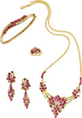 Estate Jewelry:Suites, Diamond, Ruby, Gold Jewelry Suite. ...