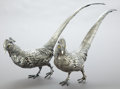 Silver Holloware, Continental:Holloware, A PAIR OF CONTINENTAL SILVER PHEASANTS WITH GLASS EYES . Makerunknown, Continental, circa 1900. 13 inches high (33.0 cm) (t...(Total: 2 Items)