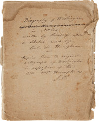 [George Washington]. Fair Copy of Notes for the Biography of Washington by John Pickering