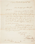 "Autographs:Statesmen, Alexander Hamilton Letter Signed ""A. Hamilton"" as Secretaryof the Treasury...."