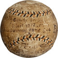 Baseball Collectibles:Balls, 1914 World Series Game Three Baseball Used in Last Inning/Final Play of Walk-Off Victory....