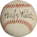 Autographs:Baseballs, 1939 Babe Ruth Single Signed Baseball, PSA/DNA NM-MT 8....