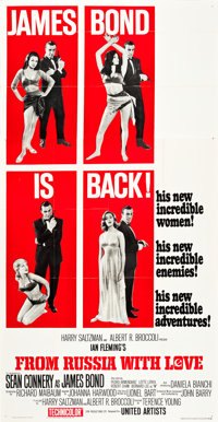 "From Russia with Love (United Artists, 1964). Three Sheet (41"" X 81"") Style B"