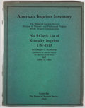 Books:Books about Books, [Kentucky]. Douglas C. McMurtrie and Albert H. Allen. AmericanImprints Inventory: The Historical Records Survey, ...