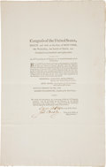 Miscellaneous:Broadside, [George Washington]. Copy of the Act Providing for the Payment ofInvalid Pensioners....