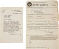 Autographs:Inventors, Alexander Fleming Typed Letter Signed with related documents....(Total: 4 Items)