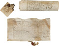 Miscellaneous:Ephemera, [Henry VII] and [Elizabeth I]. Three Documents from the Reigns ofTwo Tudor Monarchs.... (Total: 3 Items)