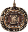Football Collectibles:Others, 1987 Denver Broncos AFC Championship Pendant....