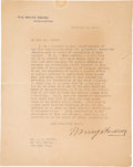 Autographs:U.S. Presidents, Warren G. Harding Typed Letter Signed...