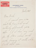 "Autographs:Celebrities, Charles Lindbergh Autograph Letter Signed ""Charles A.Lindbergh.""..."