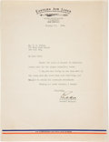 "Autographs:Military Figures, Edward V. Rickenbacker Typed Letter Signed ""Eddie.""..."