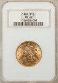 Liberty Eagles: , 1901 $10 MS62 NGC. NGC Census: (8155/9367). PCGS Population(5311/5828). Mintage: 1,718,825. Numismedia Wsl. Price for prob...