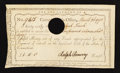 Colonial Notes:Connecticut, Connecticut Interest Certificate with Written Denomination £1, 11sMarch 26, 1790 Anderson CT 49 Extremely Fine.. ...