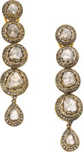 Estate Jewelry:Earrings, Colored Diamond, Silver-Topped Gold Earrings. ...