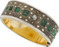 Estate Jewelry:Bracelets, Diamond, Emerald, Seed Pearl, Silver-Topped Gold Bracelet. ...