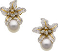 Estate Jewelry:Earrings, Diamond, South Sea Cultured Pearl, Gold Earrings. ...