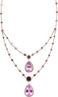 Estate Jewelry:Necklaces, Kunzite, Tourmaline, White Gold Necklace. ...