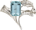 Estate Jewelry:Brooches - Pins, Aquamarine, Diamond, White Gold Brooch. ...