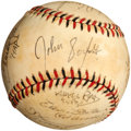 Autographs:Baseballs, 8 Men Out Entire Cast Signed Ball With Character Names. Only Known cast Signed Ball !!...