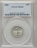 Seated Dimes: , 1886 10C MS64 PCGS. PCGS Population (129/108). NGC Census:(157/144). Mintage: 6,376,684. Numismedia Wsl. Price for problem...
