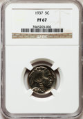 Proof Buffalo Nickels: , 1937 5C PR67 NGC. NGC Census: (313/38). PCGS Population (384/11).Mintage: 5,769. Numismedia Wsl. Price for problem free NG...