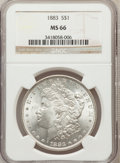Morgan Dollars: , 1883 $1 MS66 NGC. NGC Census: (804/121). PCGS Population (793/74).Mintage: 12,291,039. Numismedia Wsl. Price for problem f...