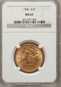 Liberty Eagles: , 1896 $10 MS63 NGC. NGC Census: (211/19). PCGS Population (130/8).Mintage: 76,200. Numismedia Wsl. Price for problem free N...