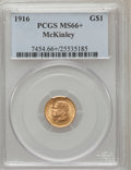 Commemorative Gold, 1916 G$1 McKinley MS66+ PCGS. PCGS Population (580/63). NGC Census:(330/70). Mintage: 9,977. Numismedia Wsl. Price for pro...