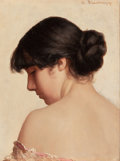 Fine Art - Painting, American:Antique  (Pre 1900), WALTER BLACKMAN (American, 1847-1928). Woman with UpsweptHair. Oil on panel in an elaborate carved and gilt frame.8-3/...