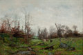 Fine Art - Painting, American:Antique  (Pre 1900), FRANK C. PENFOLD (American, 1849-1921). Cattle by a Stream, PontAven, Brittany, 1882. Oil on canvas. 20 x 30 inches (50...