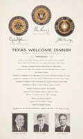 Miscellaneous:Ephemera, [John F. Kennedy]. Two Printed Speeches to be Delivered by the President in Dallas and Austin and a Printed Dinner Program. ... (Total: 3 Items)