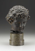 Bronze:European, A German Bronze Head of a Boy, After the Antique. . After 1924.Bronze. 13 inches (33.0 cm). ...