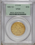 Liberty Eagles: , 1857-O $10 VF30 PCGS. A moderately worn example of this issue,which is scarce in all grades. At just 70 to 80 pieces extan...