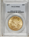 Liberty Double Eagles: , 1877 $20 MS62 PCGS. The 1877 issue commences the Type Three doubleeagles, those with TWENTY DOLLARS spelled out on the rev...