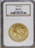 1904 $20 MS64 ★ NGC. Not the everyday near-Gem, this lovely piece has a partially prooflike obverse and a flashy reverse...