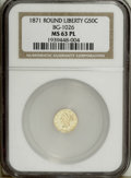 California Fractional Gold: , 1871 50C BG-1026 MS63 Prooflike NGC. A shining yellow-gold examplethat has unusually strong definition on the obverse devi...