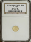 California Fractional Gold: , 1874/3 50C BG-1052 MS65 Prooflike NGC. Gorgeous yellow-goldsurfaces display a noticeable cameo-like effect. Exceptionally ...