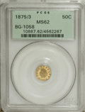 California Fractional Gold: , 1875/3 50C Indian Round 50 Cents, BG-1058, R.3, MS62 PCGS. Agold-orange piece that has lustrous, partially reflective surf...
