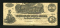 Confederate Notes:1862 Issues, T39 PF-5 $100 1862. The back reveals an old pencilled price and thefact that this note was once mounted with four stamp hin...