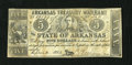 Obsoletes By State:Arkansas, Little Rock, AR- State of Arkansas $5 Apr. 4, 1862 Criswell 52. A recycled bill of exchange became the paper for this Treasu...