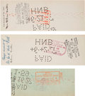 Autographs:Checks, 1927 Mrs. Babe (Helen) Ruth Signed Checks (3) & UnsignedPhotographs (3)....