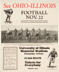 Football Collectibles:Others, 1924 Red Grange Illinois Vs. Ohio Broadside....