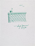 Movie/TV Memorabilia:Autographs and Signed Items, Hugh Downs: Journalist's Doodle for Hunger Benefiting St.Francis Food Pantries and Shelters. ...
