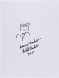 Movie/TV Memorabilia:Autographs and Signed Items, Walter Cronkite: Journalist's Doodle for Hunger Benefiting St. Francis Food Pantries and Shelters. ...